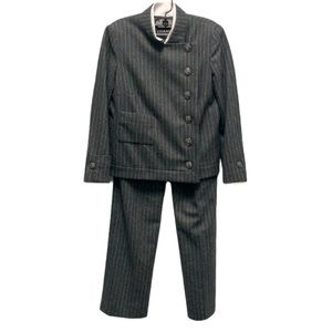 Chanel wool pinstripe asymmetrical pants suit